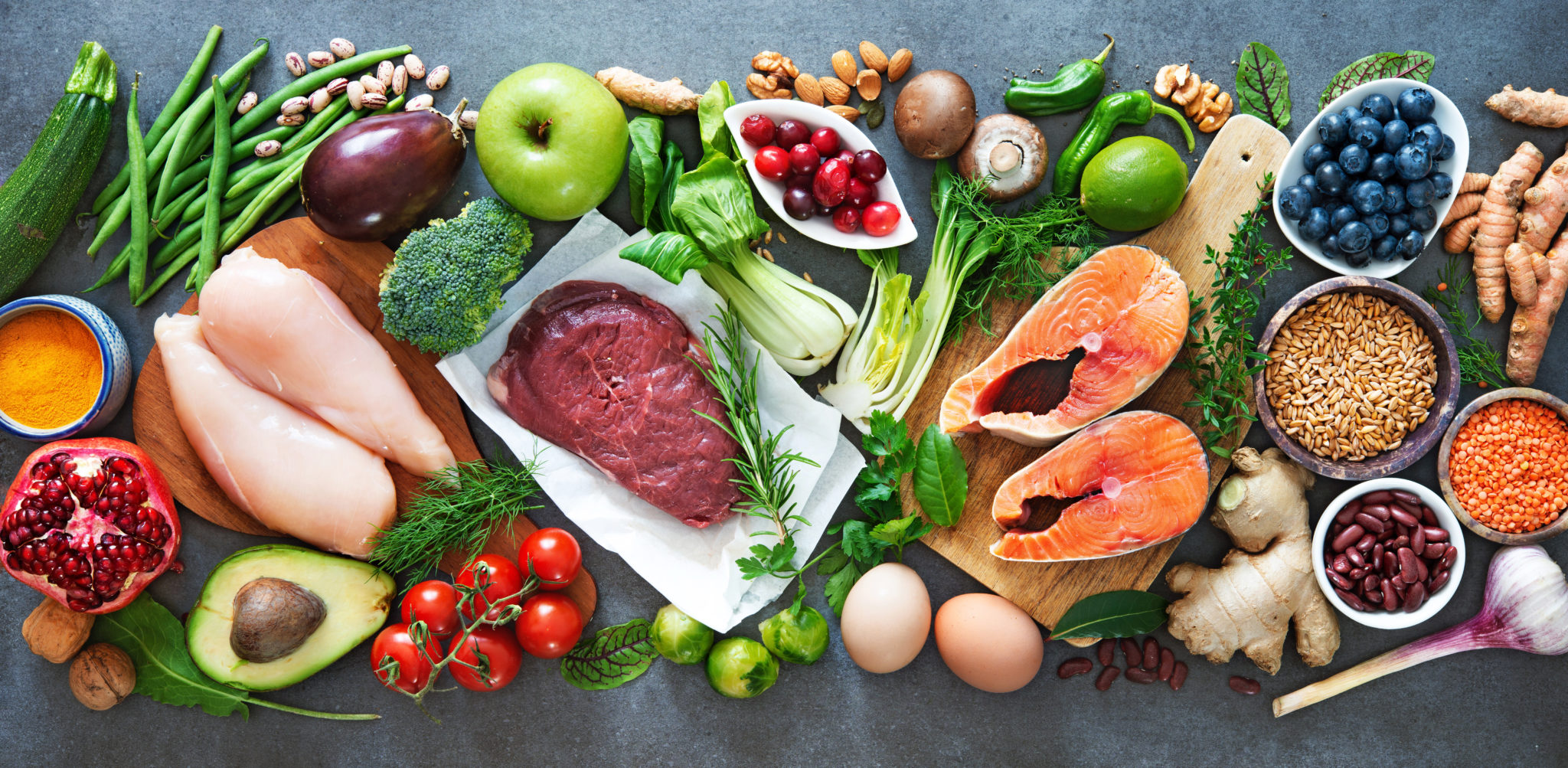 Balanced,Diet,Food,Background.,Organic,Food,For,Healthy,Nutrition,,Superfoods,