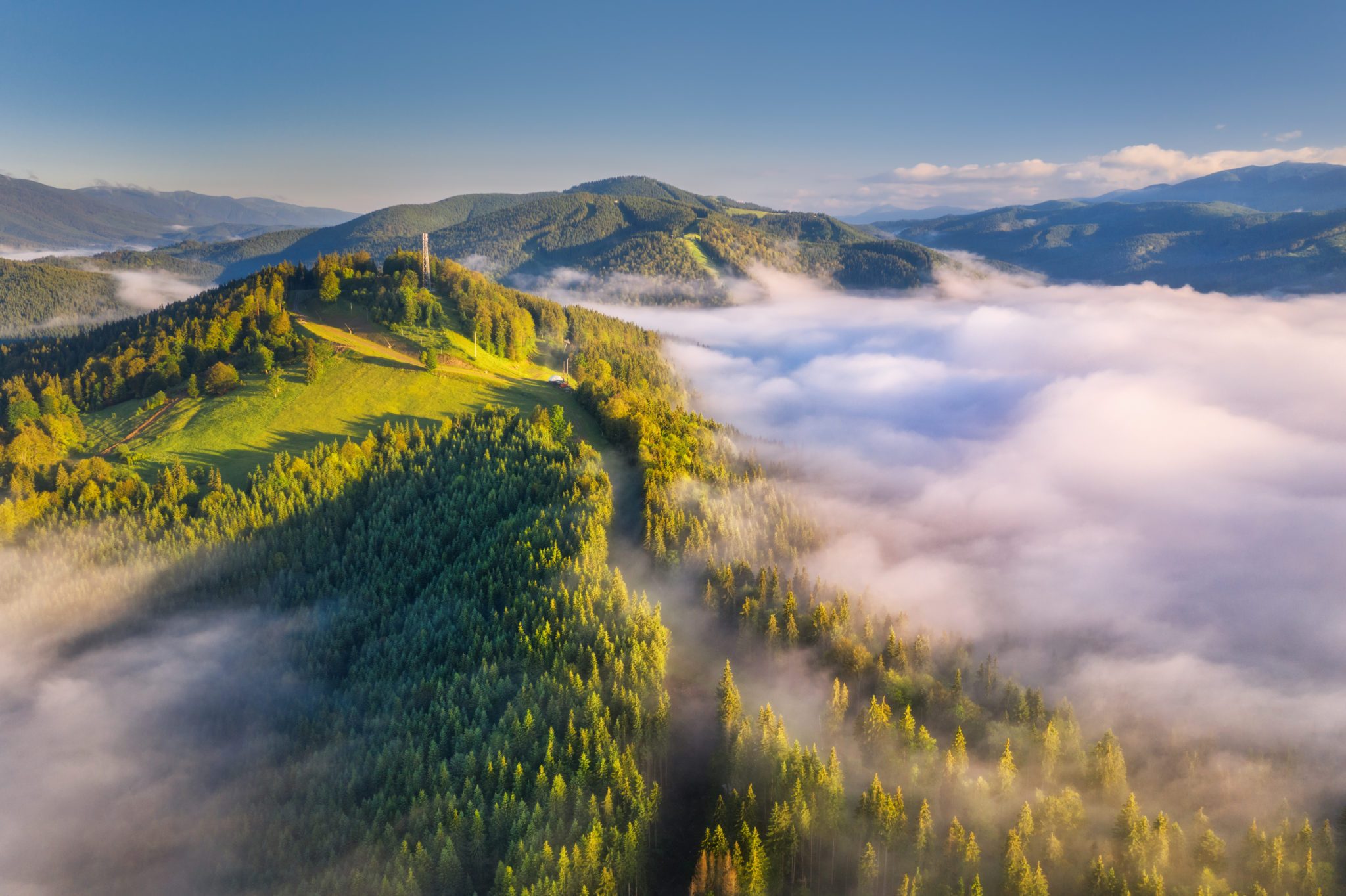 Mountains,In,Clouds,At,Sunrise,In,Summer.,Aerial,View,Of